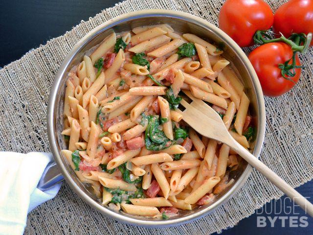 11. Creamy Tomato and Spinach Pasta